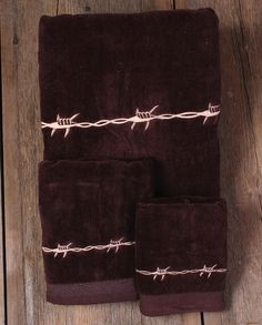 Moss Brothers Inc 3 Pc Bath Towels Barbwire Bathware Western Bathroom Decorcowboy