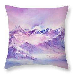 Swiss Mountains early morning Throw Pillow by Sabina Von Arx Mountain Art, Alpine Mountain, Mountain Landscape, Winter Landscape, Pink Mountains, Snowy Mountains, Pink Bathroom Decor, Pink Shower Curtains, Euro Pillows