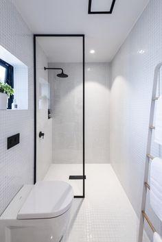 Black Framed Shower Screen White Bathroom With Black Tapware Small Bathroom Renovations Wet Room Set Up Small Bathroom Renovations, Diy Bathroom Remodel, Upstairs Bathrooms, Bathroom Renos, Bathroom Design Small, Bathroom Interior Design, Modern Bathroom, Bathroom Ideas, White Bathroom