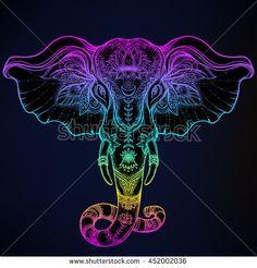 Beautiful Hand Drawn Tribal Style Elephant Tattoo Design Boho Mandala Patterns Ethnic