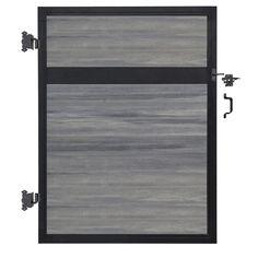 W x 6 ft. H Oxford Grey Aluminum/Composite Estate Adjustable Fence Gate-EF 63400 - The Home Depot - Modern Design Wood Fence Gates, Cedar Fence, Home Depot, Aluminium Gates, Aluminum Fence, Euro, Composite Fencing, Fence Sections, Decorative Hinges