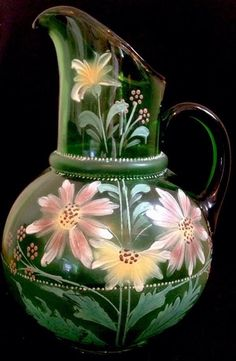 AMERICAN VICTORIAN HAND BLOWN PITCHER HAND PAINTED Water/Lemonade GREEN GLASS  #Victorian #unknown
