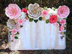 Easy Paper Flower Backdrop Assembly Paper Flowers Diy Paper Easy Paper Flower Backdrop Assembly Paper Flowers Paper Flowers Diy Paper Flower Backdrop Wedding Decorations Quinceanera Paper Flower Backdrop With Fairy Lights Pink Grey White Diy… Large Paper Flowers, Paper Flower Wall, Giant Paper Flowers, Diy Flowers, Unique Flowers, Flower Wall Backdrop, Flower Wall Decor, Flower Decorations, Wedding Decorations