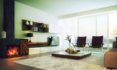 natural modern living | Natural Swedish Modern Living Room Design White Rug Modern Fireplace