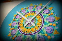 Quilled Art Wooden Clock  Statement. Art. Wall by PaperSpirals