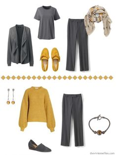 Accenting Charcoal Grey with 4 Pantone Spring 2019 Colors - The Vivienne Files Colored Pants Outfits, Grey Pants Outfit, Casual Dress Outfits, Gray Dress, Gray Pants, Fashion Looks, Grey Fashion, Denim Fashion, The Vivienne