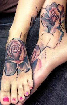 Unique roses foot tattoo