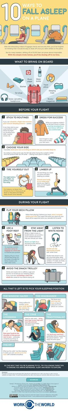 Good tips for long-hauls. I never noticed that the windows on the left side of the plane were offset!  10 ways to fall asleep on a plane
