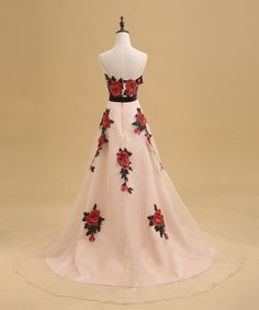 Rose Embroidered Floor Length Chiffon A-Line Prom Dress Featuring Sweetheart Bodice And Chapel Train on Luulla