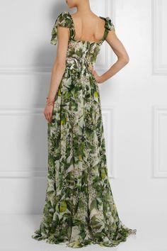 Dolce & Gabbana|Orange blossom-print silk-chiffon gown|NET-A-PORTER.COM