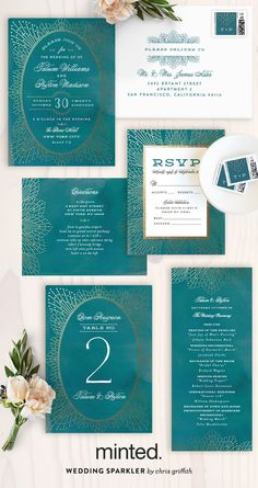 Introducing the Minted 2016 Foil-Pressed Wedding Collection. Shop unique designs for your wedding invitations in unique styles from our community of artists. Garden wedding inspiration. Wedding sparkler foil-pressed wedding invitations by Minted artist Chris Griffith.