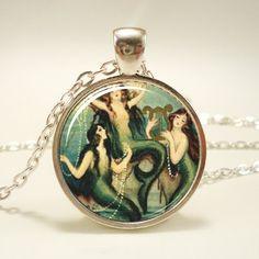 Mermaid Necklace Mermaid Charm With Chain Silver Plate by rainnua, $14.45