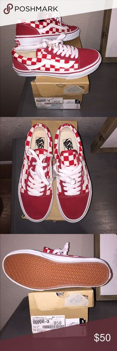 Red checkerboard old skool Vans New (unused) and with box. Only selling because I ordered the wrong size online. Men's US 5 , Women's 6.5 Vans Shoes Sneakers