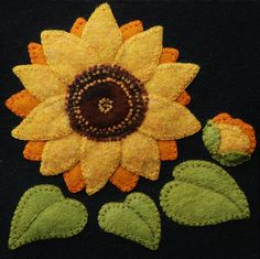 "Wool applique BOM PATTERN &/or KIT ""Sunflower"" 6x6 block 1 of 24 in ""Four Seasons of Flowers"" wool quilt bed runner wall hanging felted wool"