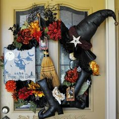 Halloween Primitive Wreath that I made last year, can't wait to get it back on the door this fall!!  Jennifer Suggs