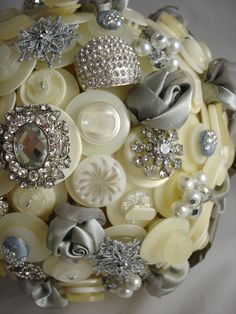 The Pewter and Pearl Wedding Button Bouquet