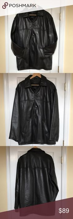 Men's Genuine Leather Coat Men's Trek 100% genuine leather coat.  Features 5 buttons, two front pockets, one interior pocket, removable zipper lining. Tags were removed but the coat was NEVER WORN. Trek Jackets & Coats