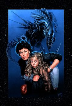 This nice ALIENS piece is by Mike Perry . I just wish he had reference the Alien Queen from ' ALIENS ' instead of ' AVP '. My nerd bra. Saga Alien, Alien Film, Alien Movie Poster, Aliens Movie, Movie Posters, Predator Movie, Predator Alien, Alien 1979, Arte Alien