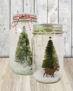 Some inspiration for those hockey puck holders :) Whether you're having a winter-themed wedding or are hosting a holiday dinner, these mason jar centerpieces are easy to make for your special occasion. All Things Christmas, Winter Christmas, Christmas Holidays, Christmas Decorations, Winter Centerpieces, Mason Jar Centerpieces, Centrepieces, Mason Jar Projects, Mason Jar Crafts
