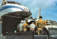 Unloading of a replacement engine from a Bristol Freighter of the Royal New Zealand Air Force for a Vickers Valetta at RAF Gan, in The Maldives in 1958
