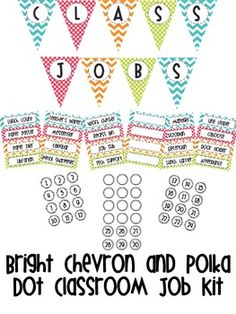 Bright Chevron & Polka Dot Classroom JOb Kit $2.75