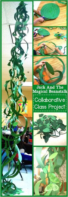 Jack And The Beanstalk Craft ~ Make an oversized beanstalk out of green construction paper! An easy craft even preschoolers can make! (easy crafts for kids preschool) Fairy Tale Crafts, Fairy Tale Theme, Fairy Tale Projects, Garden Crafts, Garden Ideas, Rainforest Classroom, Rainforest Theme, Rainforest Cafe, Amazon Rainforest