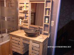 Bathroom cabinet with - Wood Decora la Maison Master Bathroom Vanity, Bathroom Shelves, Bathroom Storage, Bathroom Sinks, Tiny Bathrooms, Guest Bathrooms, Pallet Furniture, Rustic Furniture, Palette Deco