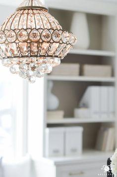 Lamps Plus Crystal Chandelier In Elegant Neutral Home Office Makeover Reveal Design