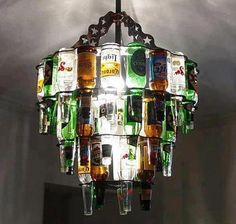 chandelier recycled glass bottles
