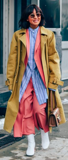 NYFW, Street Style, New York Fashion Week, Layering, Macintosh Coat.