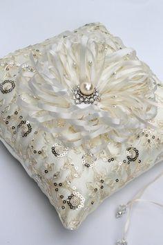 Elegant  Wedding  Pillow Ring Bearer / Wedding by CeremonyDeluxe