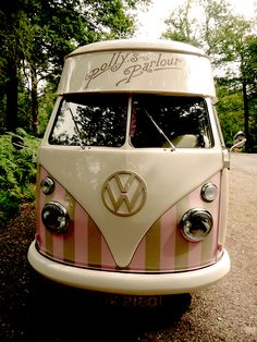 VW ice cream van. So awesome! ( Thinking creatively with paint, any van can be painted this way!)