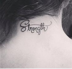 Strength, tattoos, neck tattoos, girls with tattoos, strength tattoos, small tattoos