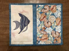 Quilted mug rug, angel fish snack mat, candle mat, seashells, Quiltsy handmade, Item #163