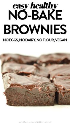 No Bake Brownies Without Dates #nobake #brownies #vegandesserts #veganrecipes #vegansnacks #rawdesserts #nobakedesserts #cleantreats Vegan Keto Recipes, Vegan Dessert Recipes, Vegan Snacks, Brownie Recipes, Raw Food Recipes, Delicious Desserts, Snack Recipes, Heathy Treats, Clean Eating Desserts