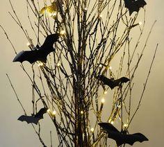 Lit German Glitter Bundle With Bats, Black   Pottery Barn Chic Halloween, Halloween Home Decor, Outdoor Halloween, Diy Halloween Decorations, Halloween House, Holidays Halloween, Scary Halloween, Halloween Crafts, Halloween Party