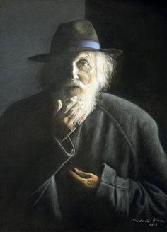"""Danièle Aviron, """"L'explication"""", techniques mixtes et pastel sec sur carton, 53 x 39."""