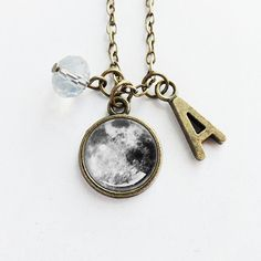 Personalized Jewelry / Antique Bronze Initial/Letter/Alphabet Charm/ Crystal Bead / Moon Pendant Necklace