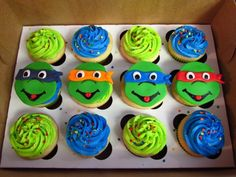 These bright and colorful DIY Teenage Mutant Ninja Turtles cupcakes are hard to miss at any party! Ninja Turtle Party, Ninja Turtle Birthday Cake, Ninja Turtle Cupcakes, Turtle Birthday Parties, Ninja Party, Birthday Ideas, Turtle Cakes, 5th Birthday, Dinosaur Birthday