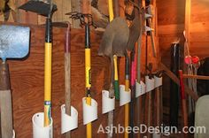 Organizing Garden Tools with PVC-- I so want to do this in my garage!!