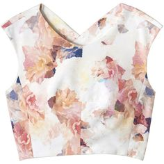 Rebecca Taylor Enchanted Garden Crop Top ($250) ❤ liked on Polyvore featuring tops, shirts, crop tops, tank tops, melon combo, shirts & tops, polyester crop tops, white top, cross back top and shirt crop top