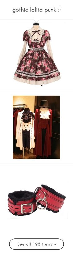 """gothic lolita punk :)"" by opal2635 ❤ liked on Polyvore featuring lolita, costumes, leather halloween costumes, role play costumes, cosplay halloween costumes, red costume, cosplay costumes, jewelry, bracelets and coffee"
