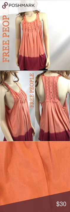 "GENTLE WORN FREE PEOPLE SLEEVELESS PEACH TOP MED VERY GOOD CONDITION! Has some threads here and there that adds to the vintage look of FREE PEOPLE.  GENTLE WORN TWICE,                                                            Measurements: 34"" Bust, 48"" bottom of shirt (flares out) 29"" long,    Has small dot like stains! hard to see. Please look at photos.                        SMOKE FREE HOME Free People Tops Tank Tops"