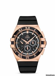 Omega CONSTELLATION DOUBLE EAGLE CHRONO QUADRANTE NERO $15,824 #Omega #watch #watches #chronograph red gold case rubber bracelet automatic movement