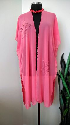 Star Emroided  Swimsuit Cover up, Coral Color Beach wear, Bohochic Gauze Kimono, Oversize