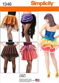 Simplicity Sewing Pattern 1346 Misses Steampunk Costume Skirts & Bustles #Simplicity #Steampunk