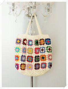 Crochet Bag, Crochet Beach Bag, Retro Bag,Granny Square Bag, Boho Style, Crohcet Shoulder Bag, Summer Bag, Gift for Her