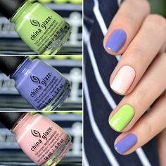 """Already in my blog China Glaze """"Be More Pacific"""", """"What A Pansy"""", """"Spring In My Step"""" - 2 coats with top coat, 2 слоя и топ."""