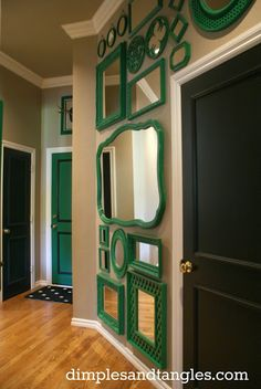 Love this wall of kelly green mirrors. Dimples and Tangles: Decor, Home Projects, Eclectic Home, Gallery Wall, Home Decor, Home Deco, Mirror Decor, Thrifting, Mirror