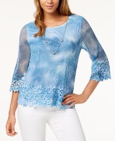 Alfred Dunner Petite Sun City Tie-Dye Lace-Trim Necklace Sweater - Blue PL